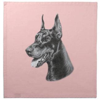 ドーベルマン犬の鉛筆のスケッチ ナプキンクロス