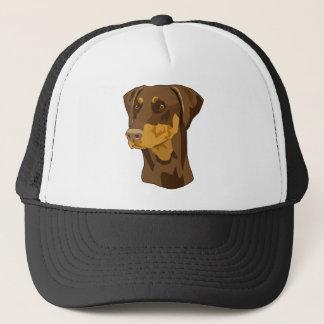 ドーベルマン犬の頭部、Uncropped赤 キャップ