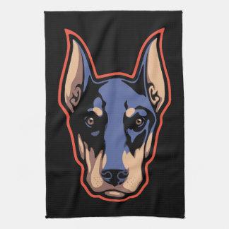 ドーベルマン犬の顔 キッチンタオル