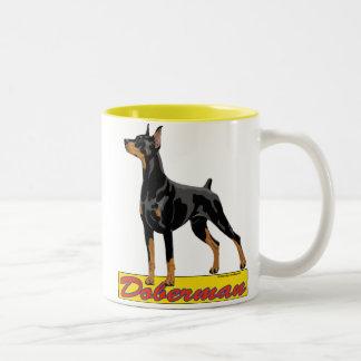 ドーベルマン犬の黒および赤 ツートーンマグカップ