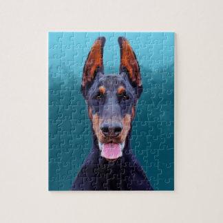 ドーベルマン犬犬のポートレート ジグソーパズル