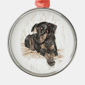 ドーベルマン犬犬の自然な耳 メタルオーナメント