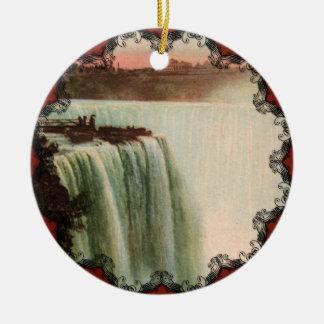 ナイアガラのオーナメントの蹄鉄の滝 セラミックオーナメント