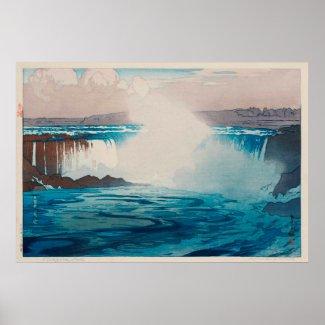 ナイアガラ瀑布、ナイアガラ・フォールズ、ひろし吉田の木版画 ポスター