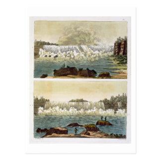 ナイアガラ・フォールズ1818年(色の版木、銅版、版画) ポストカード