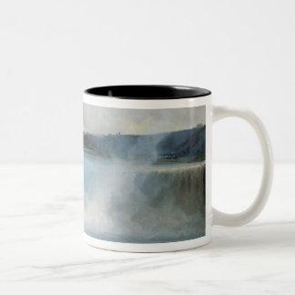 ナイアガラ・フォールズ、c.1837-40 (キャンバスの油) ツートーンマグカップ