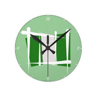 ナイジェリアのブラシの旗 ラウンド壁時計