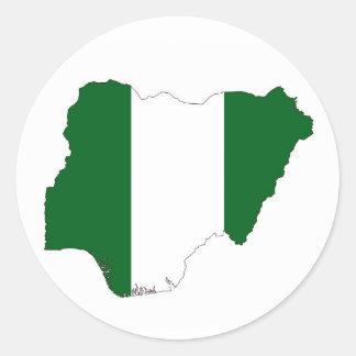 ナイジェリアの国旗の地図の形の記号 ラウンドシール