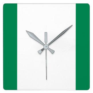 ナイジェリアの国民の世界の旗 スクエア壁時計
