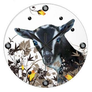 ナイジェリアの小型ヤギの絵画の花の柱時計 ラージ壁時計