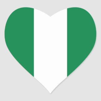ナイジェリアの旗のハートのステッカー ハートシール