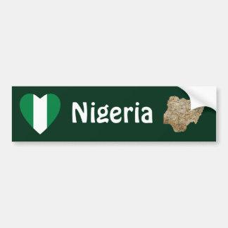 ナイジェリアの旗のハート + 地図のバンパーステッカー バンパーステッカー