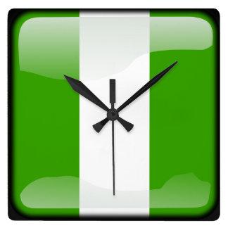 ナイジェリアの旗 スクエア壁時計