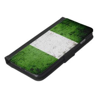 ナイジェリアの黒くグランジな旗 iPhone 6/6S PLUS ウォレットケース