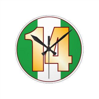 ナイジェリアの14金ゴールド ラウンド壁時計