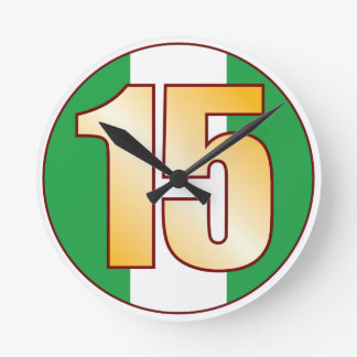 ナイジェリアの15金ゴールド ラウンド壁時計