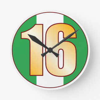 ナイジェリアの16金ゴールド ラウンド壁時計