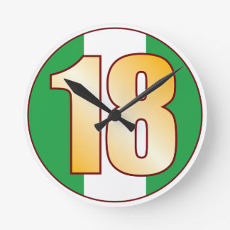 ナイジェリアの18金ゴールド ラウンド壁時計