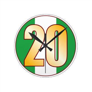ナイジェリアの20金ゴールド ラウンド壁時計