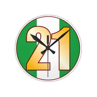 ナイジェリアの21金ゴールド ラウンド壁時計