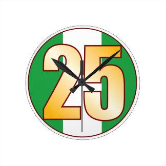 ナイジェリアの25金ゴールド ラウンド壁時計