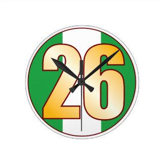 ナイジェリアの26金ゴールド ラウンド壁時計