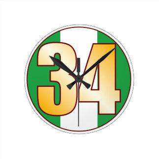 ナイジェリアの34金ゴールド ラウンド壁時計