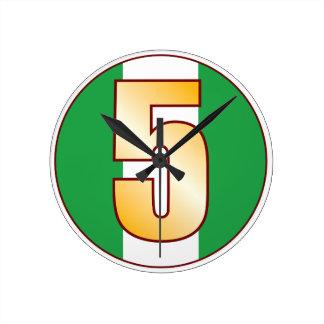 ナイジェリアの5金ゴールド ラウンド壁時計