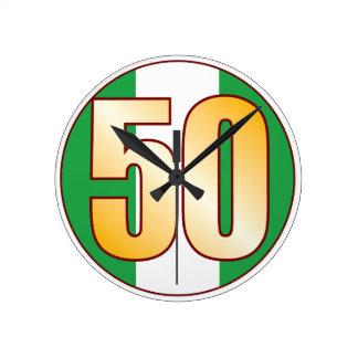 ナイジェリアの50金ゴールド ラウンド壁時計