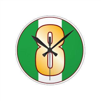 ナイジェリアの8金ゴールド ラウンド壁時計