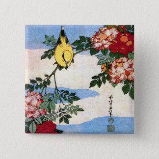 ナイチンゲール及びバラのHokusaiの日本人のファインアート 5.1cm 正方形バッジ