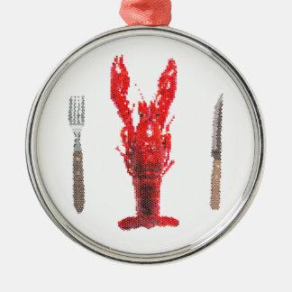 ナイフおよびフォークが付いているCrayfishのロブスター シルバーカラー丸型オーナメント