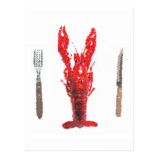 ナイフおよびフォークが付いているCrayfishのロブスター ポストカード