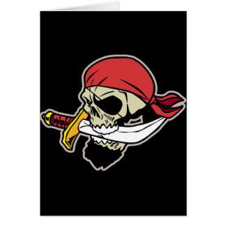 ナイフが付いている海賊スカル カード