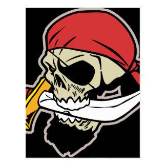 ナイフが付いている海賊スカル ポストカード