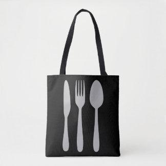 ナイフのフォークのスプーンの銀器の食事用器具類 トートバッグ