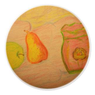 ナシおよびりんごのスケッチ セラミックノブ
