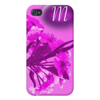 ナシの花のモノグラム-ピンク iPhone 4 カバー