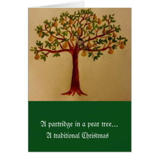 ナシ木のクリスマスカードのヤマウズラ カード