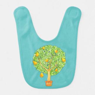 ナシ木のティール(緑がかった色)のベビー用ビブ ベビービブ