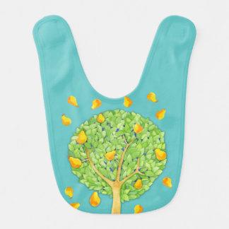 ナシ木のナシのティール(緑がかった色)のベビー用ビブ ベビービブ