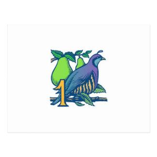 ナシ木のヤマウズラ ポストカード