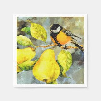ナシ木の紙ナプキンの鳥 スタンダードカクテルナプキン