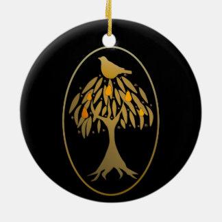 ナシ木の金ゴールドのヤマウズラ セラミックオーナメント