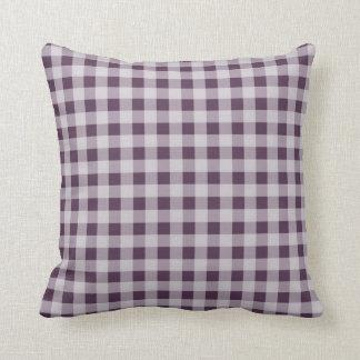 ナスの紫色のギンガムパターン クッション