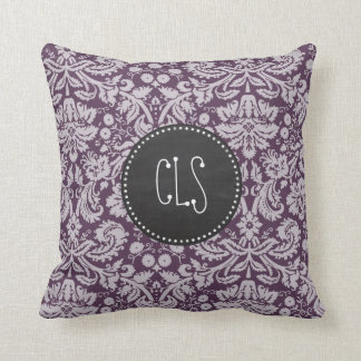 ナスの紫色のダマスク織; チョークの一見 クッション