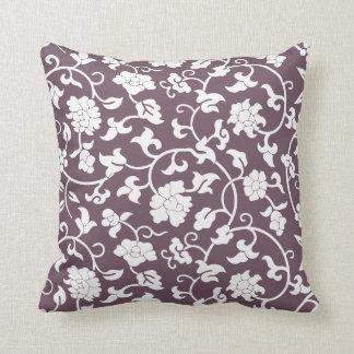 ナスの花柄の枕 クッション
