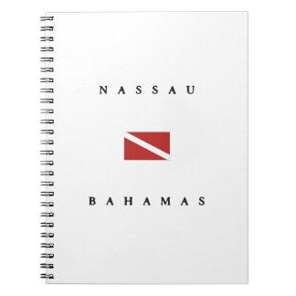 ナッサウバハマのスキューバ飛び込みの旗 ノートブック