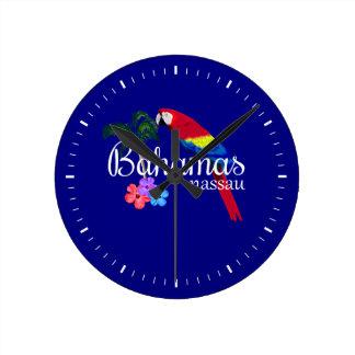 ナッサウバハマの熱帯行先 ラウンド壁時計