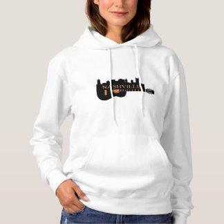 ナッシュビルのギターのスカイラインの女性のフード付きのスエットシャツ パーカ